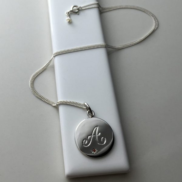 July Birthstone Initial Necklace in Sterling Silver