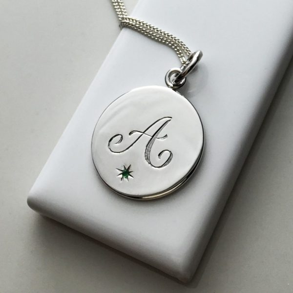 May Birthstone Initial Necklace in Sterling Silver