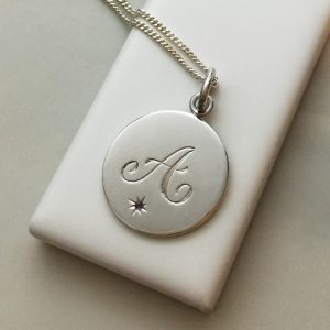 February Birthstone Initial Necklace in Sterling Silver