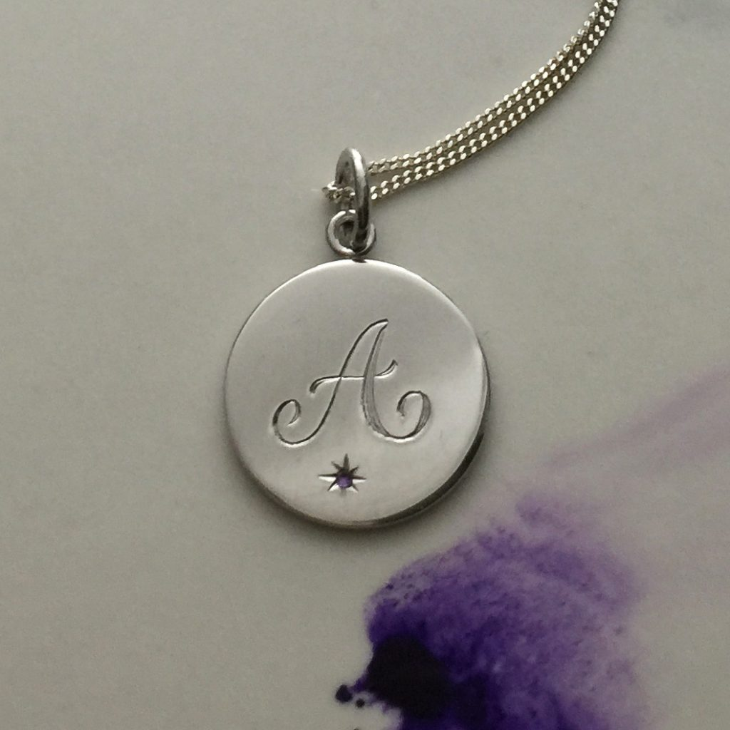 Birthstone February Amethyst Initial Necklace In Sterling