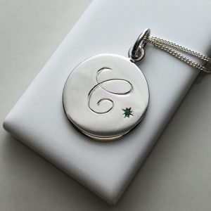 May Emerald Initial Necklace in Sterling Silver