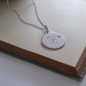 May Emerald Initial Necklace in Sterling Silver by Bianca Jones Jewellery