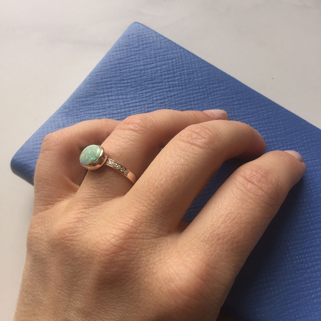 Opal set with Diamond in Rose Gold Ring