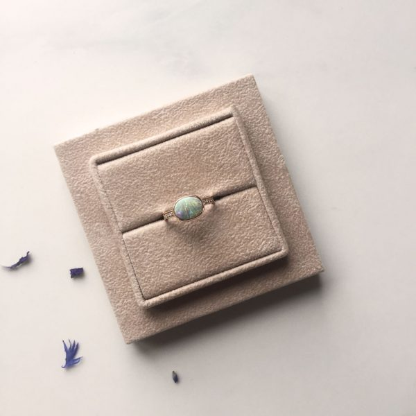 Cabochon Opal Rose Gold Ring with Diamonds