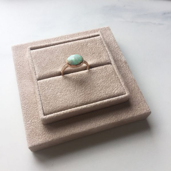 Cabochon Opal set in Rose Gold with Diamonds