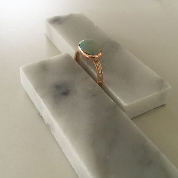 Bespoke Opal and Diamond Rose Gold Ring