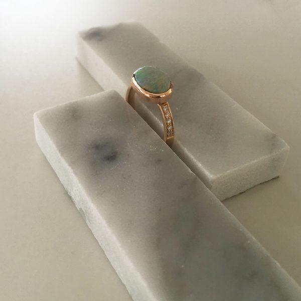 Bespoke Opal and Diamond Rose Gold Ring