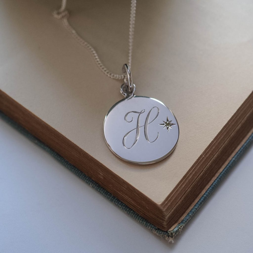 Birthstone August Peridot Initial Necklace In Sterling
