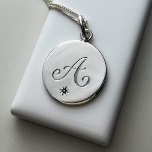 Sapphire Initial Necklace in Sterling Silver