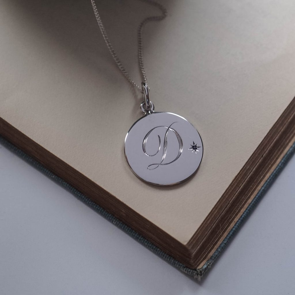 Sapphire Initial Necklace Silver