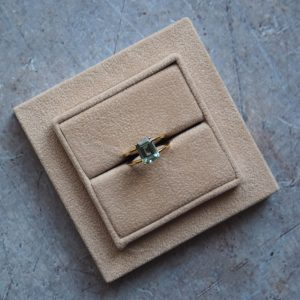 Aquamarine Gold Ring in Packaging Bianca Jones