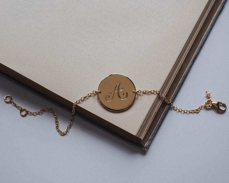 initial bracelet in gold vermeil by bianca jones
