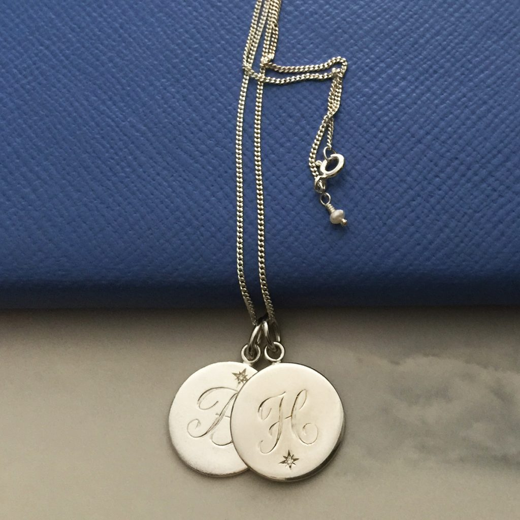 double disc birthstone initial necklace in silver and gold. Black Bedroom Furniture Sets. Home Design Ideas