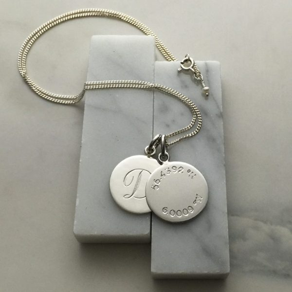 Double Disc Latitude and Initial Necklace in Sterling Silver
