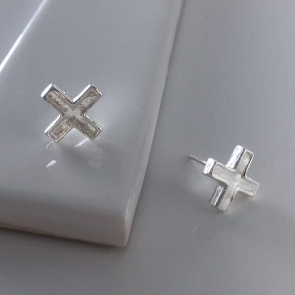 Cross Stud Earrings in Sterling Silver