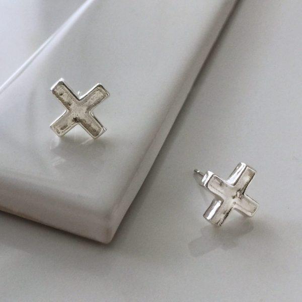 Cross Stud Earrings in Sterling Silver