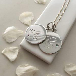 Double Disc Birthstone Initial Necklace Sterling Silver from Bianca Jones