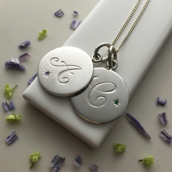 Double Disc Birthstone Initial Necklace