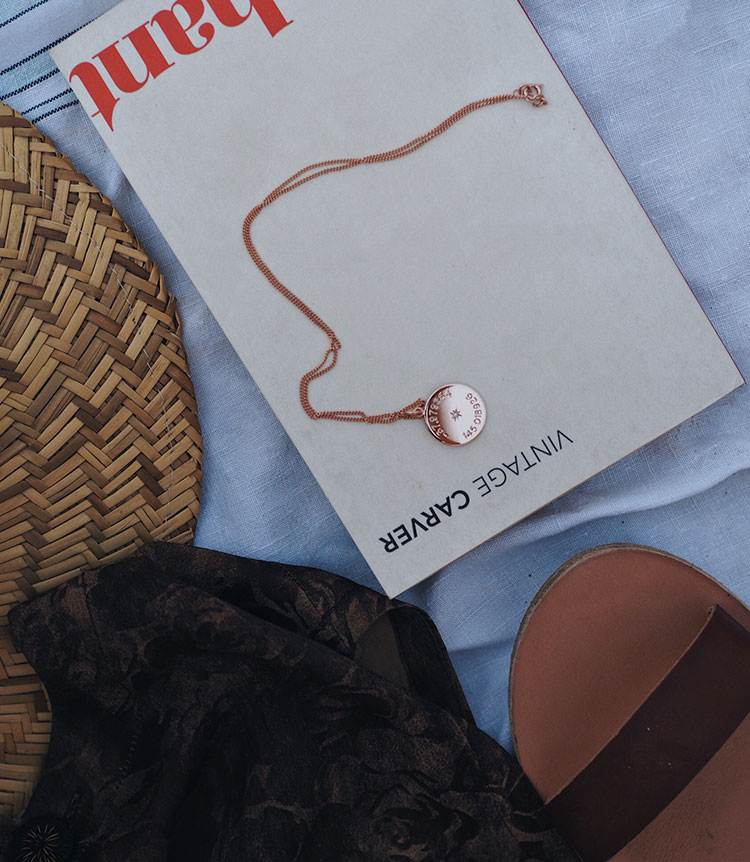 Latitude and Longitude Necklace in Rose Gold