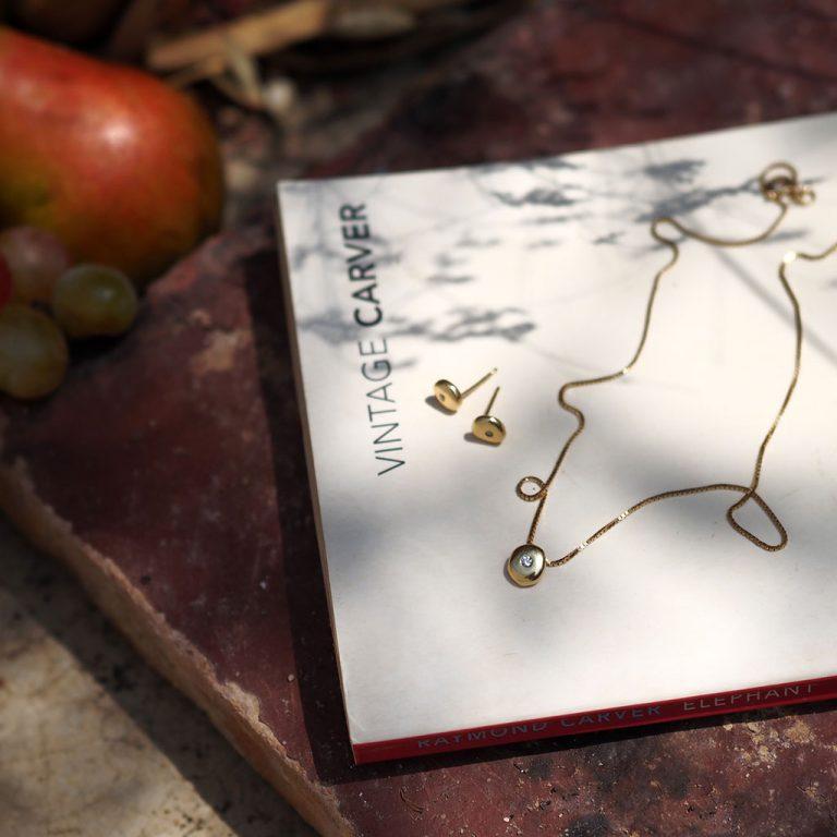 Birthstone Comfort Earrings in Solid Gold by Bianca Jones Jewellery
