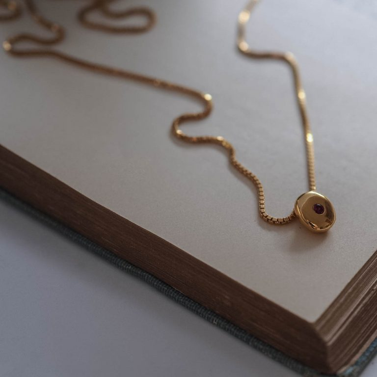 Birthstone Comfort Necklace in Gold Vermeil by Bianca Jones Jewellery