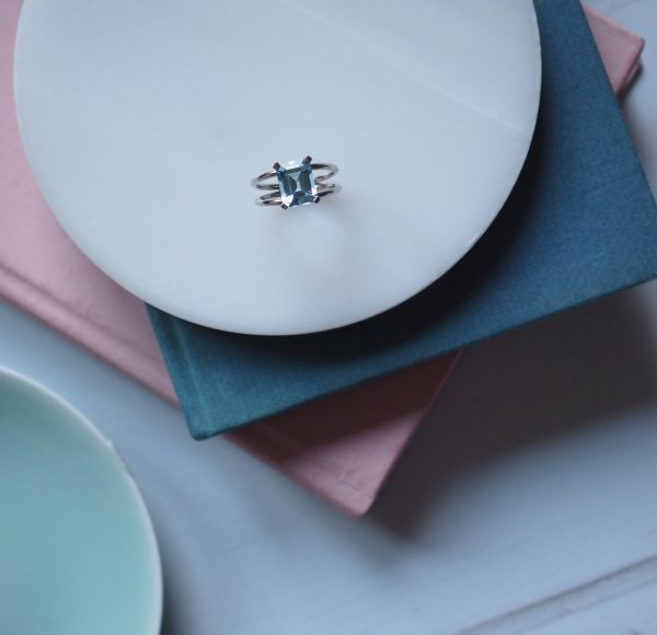 Aquamarine white gold ring Bianca Jones