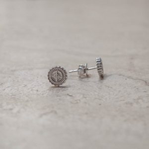 Compass Stud Earrings in Sterling Silver