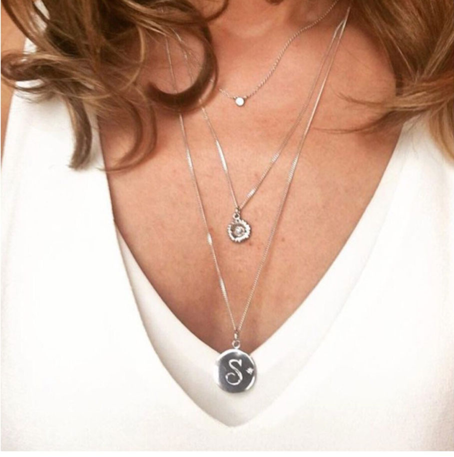 Birthstone Initial Necklace