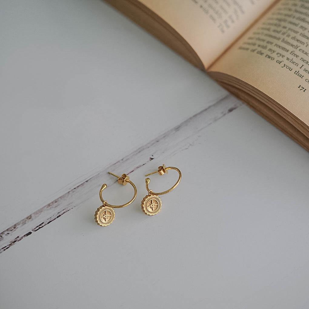 Compass Hoop Earrings in Gold Vermeil