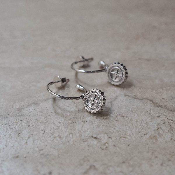 Compass Hoop Earrings in Sterling Silver