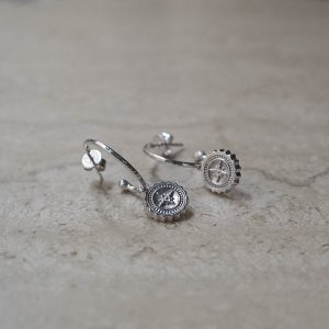 Compass Hoop Earrings in Sterling Silver