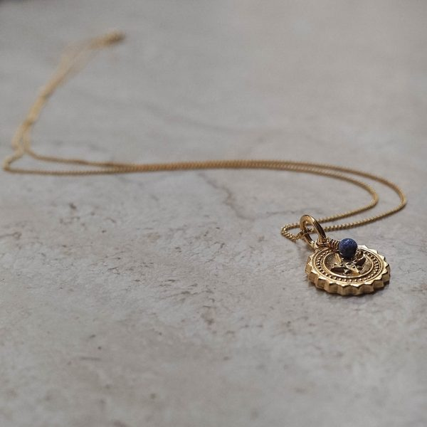 Compass Midi with Lapis Lazuli Necklace in Gold Vermeil