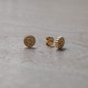 Compass Stud Earrings in Gold Vermeil