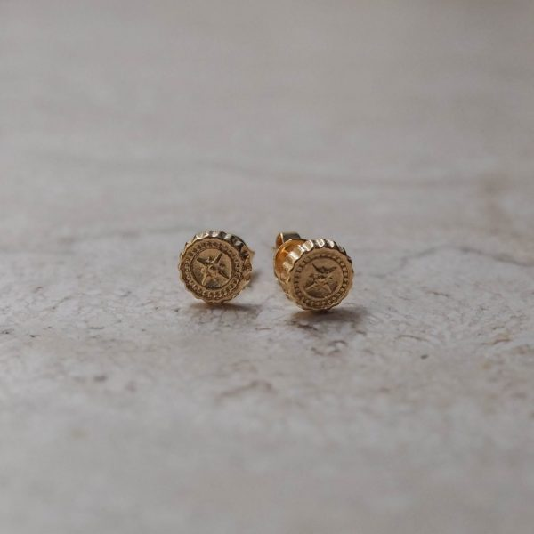 Compass Stud Earrings in Gold Vermeil