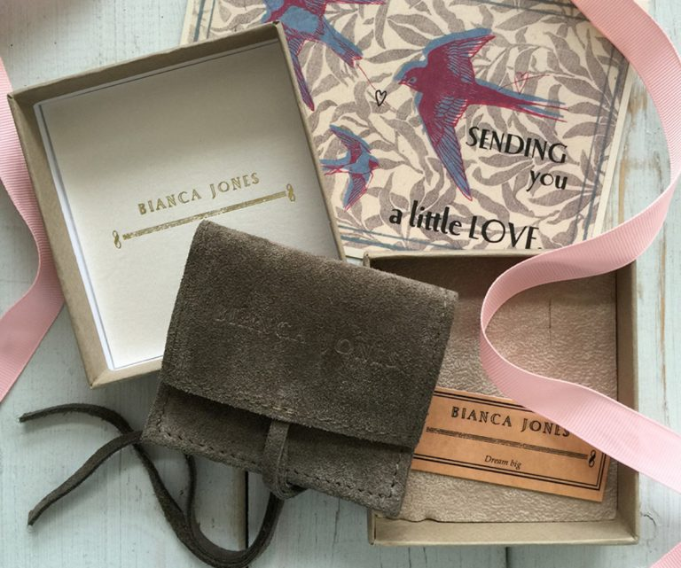 Bianca Jones packaging for Latitude and Longitude Necklace