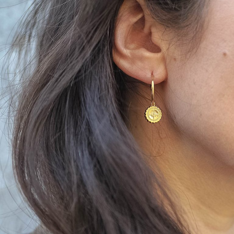 Compass Hoop Earrings