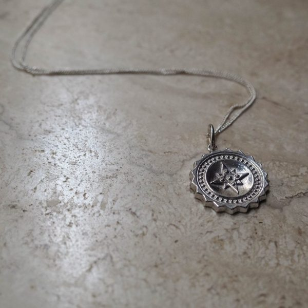 Compass Large Necklace in Sterling Silver