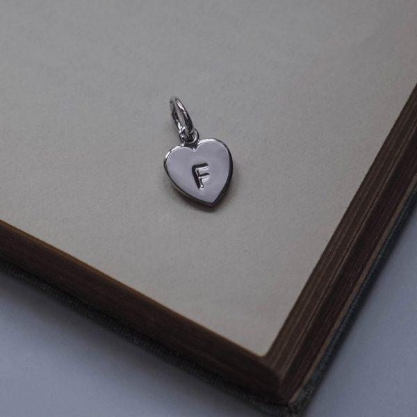 Letter Love Heart Charm in Sterling Silver