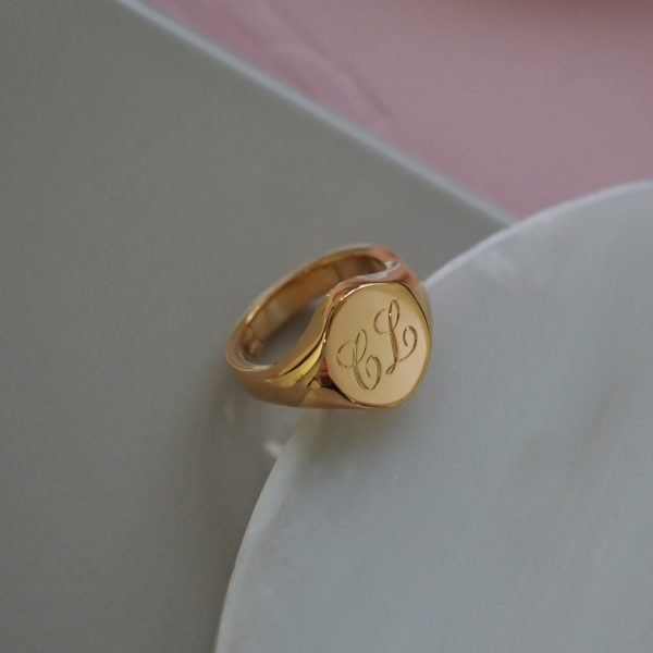 Signet Initial Double Ring
