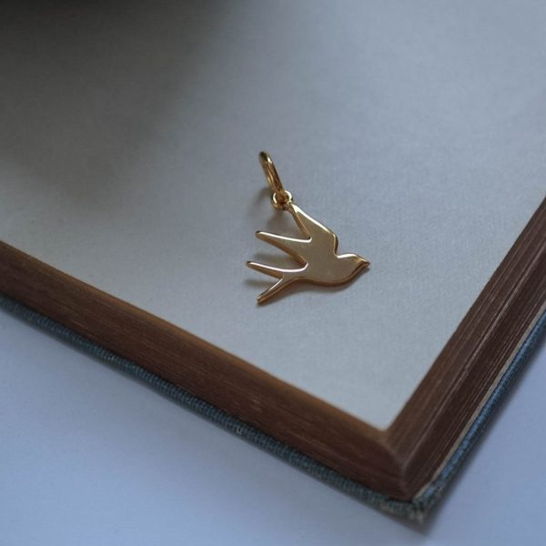 Swallow Charm Gold Vermeil