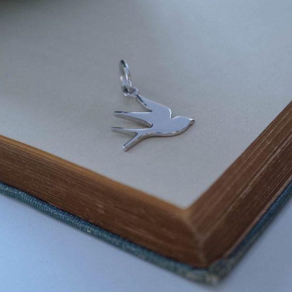 Swallow Charm Silver