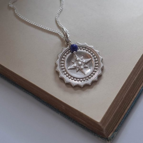 Compass Large with Lapis Lazuli Necklace in Sterling Silver