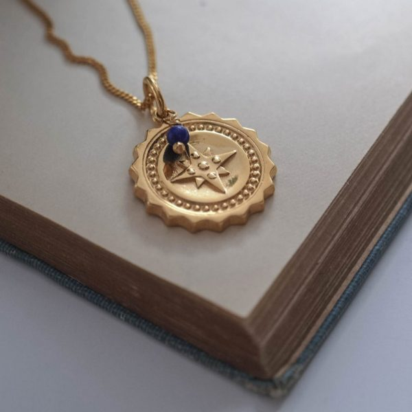 Compass Large with Lapis Lazuli Necklace in Gold Vermeil