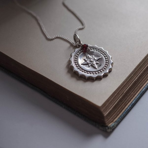 Compass Large with Garnet Necklace in Sterling Silver