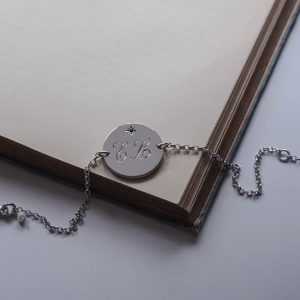 Double Birthstone Initial Bracelet In Sterling Silver