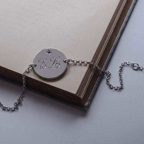 Double Birthstone Initial Bracelet In Sterling Silver