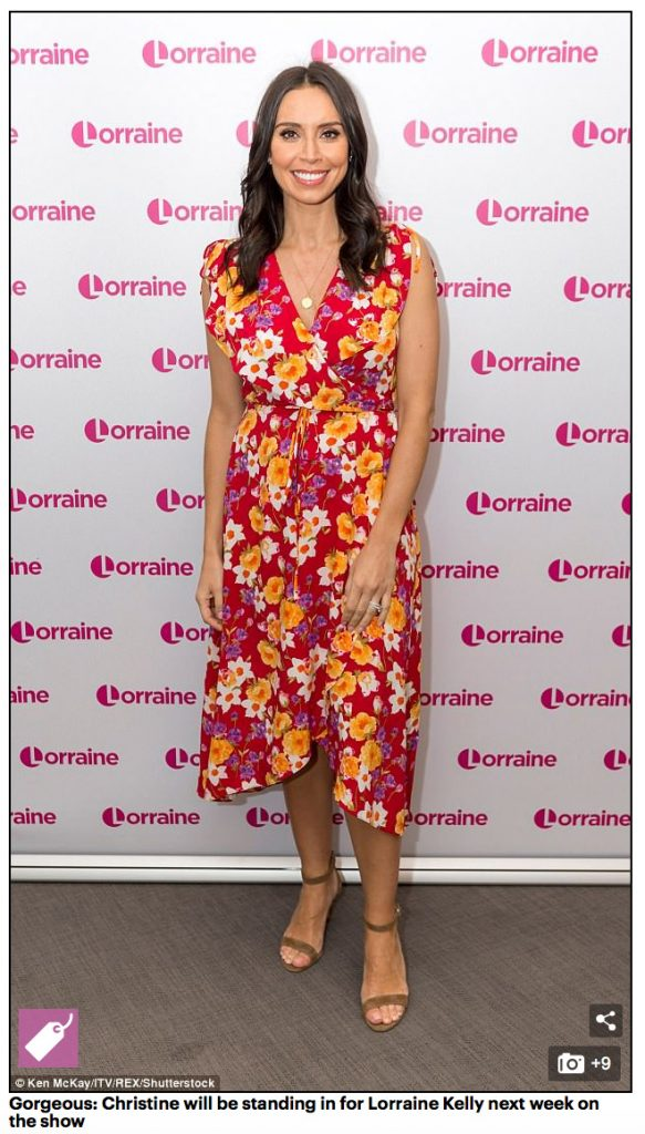 Christine Lampard on Lorraine wearing her Gold Latitude and Longitude Necklace