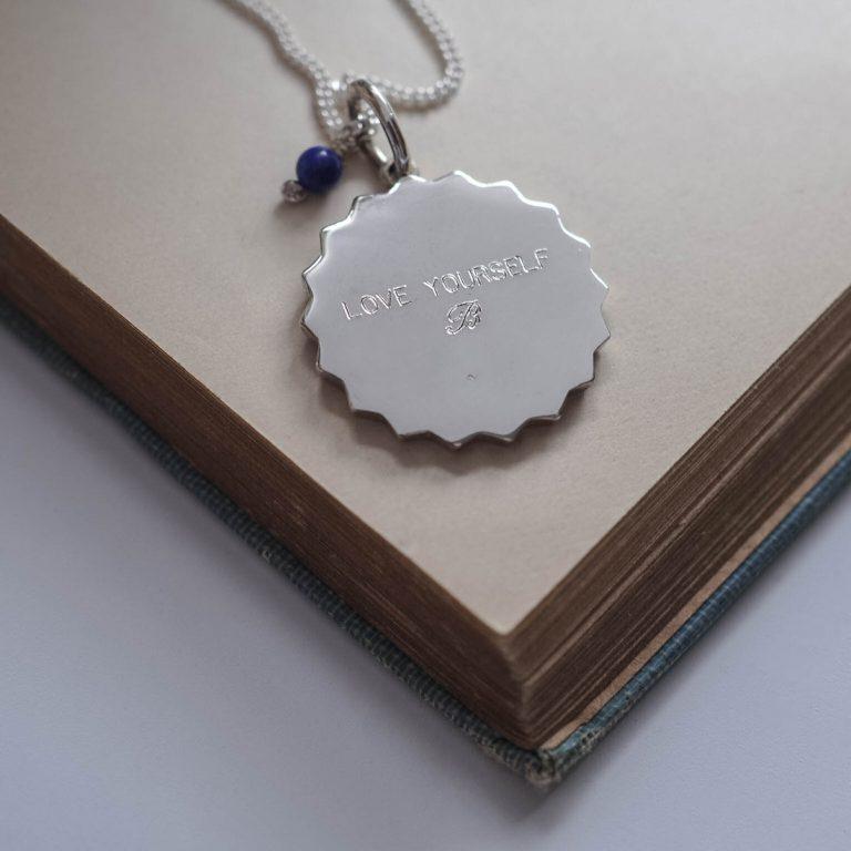 Engraving on reverse of Compass Lapis Lazuli Bracelet