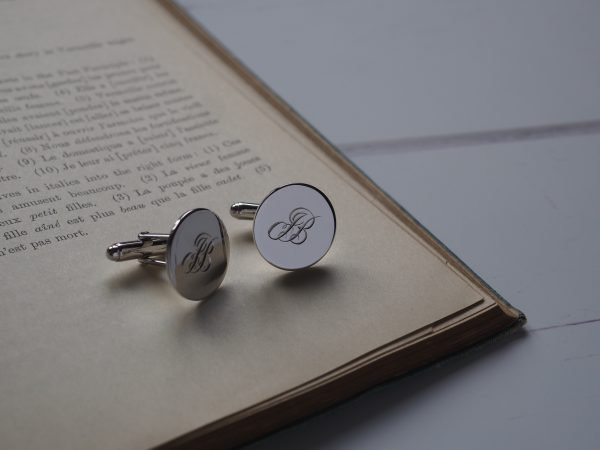 Double Initial Cufflinks in Sterling Silver