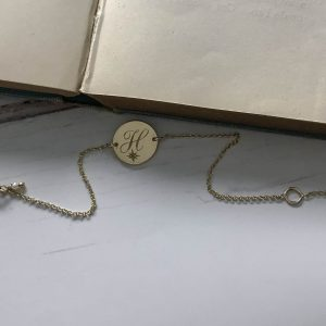 Birthstone Initial Mini Bracelet in Yellow Gold